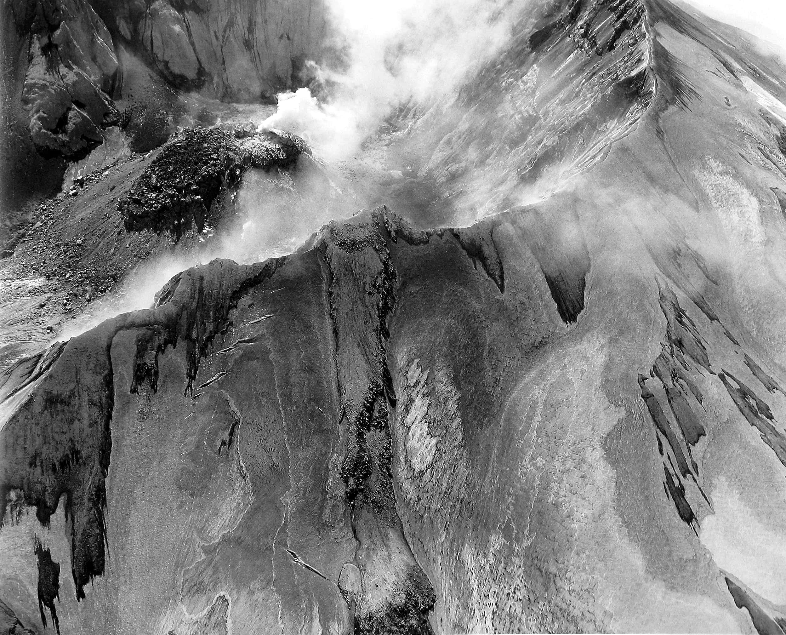 Aerial View of Mt. St. Helens, Crater and Lava Dome, 1982