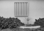 Untitled (planter with square, slotted window)