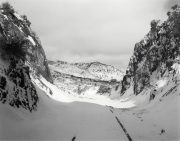 """Virginia and Truckee #11 (cut), 2006 Gelatin silver print mounted to 16 x 20"""" archival board, with graphite lettering 8 x 10 inches"""