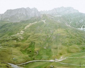 Green rocky landscape with rock spires