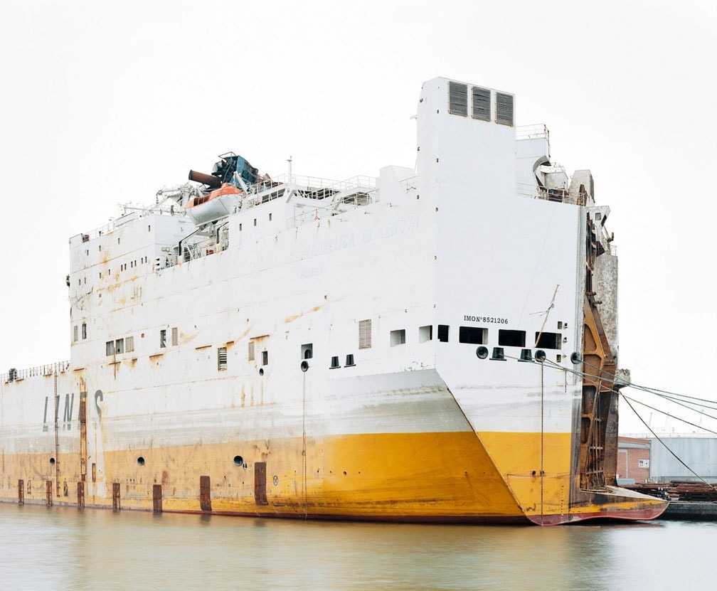 White and yellow ship