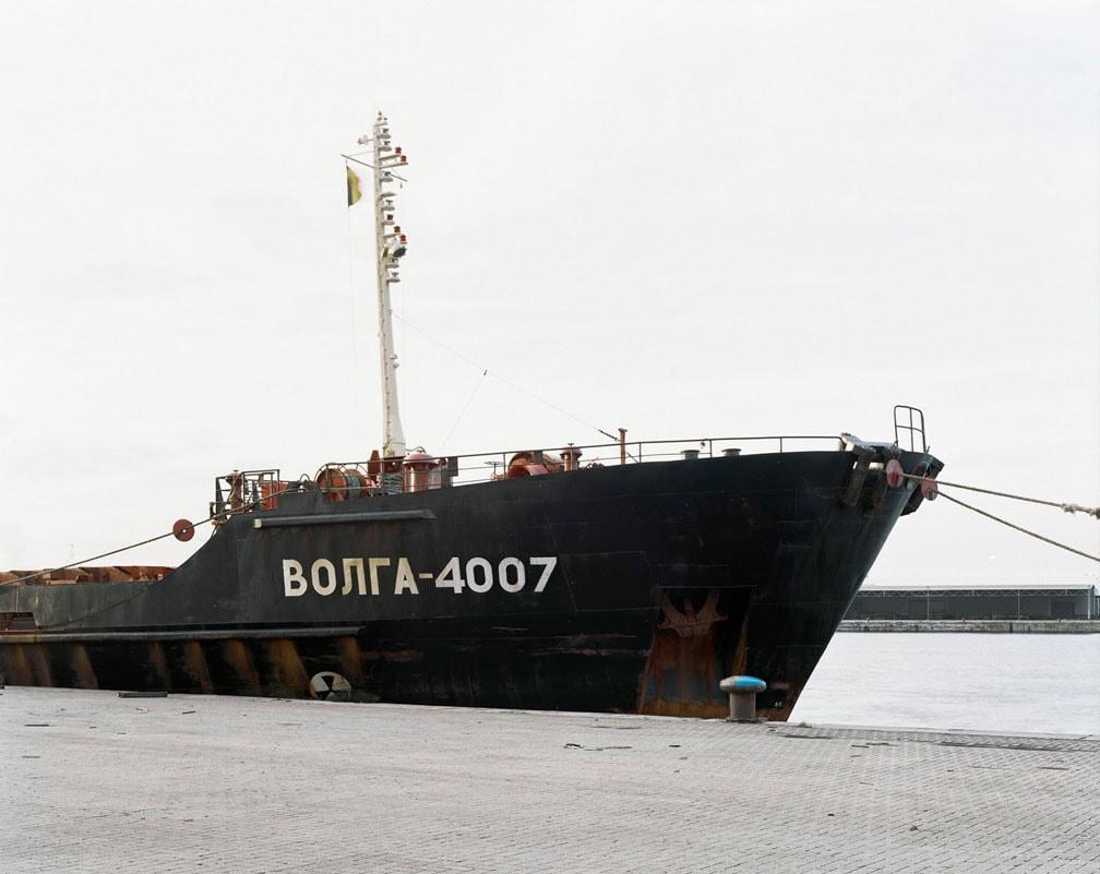 Long black transport ship