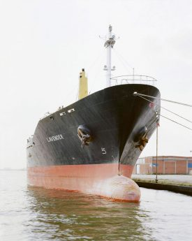 Red and black cargo ship named Lavender