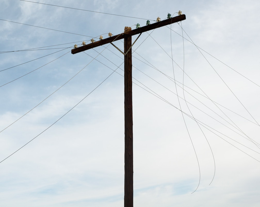 Utility Pole w/Severed Wires