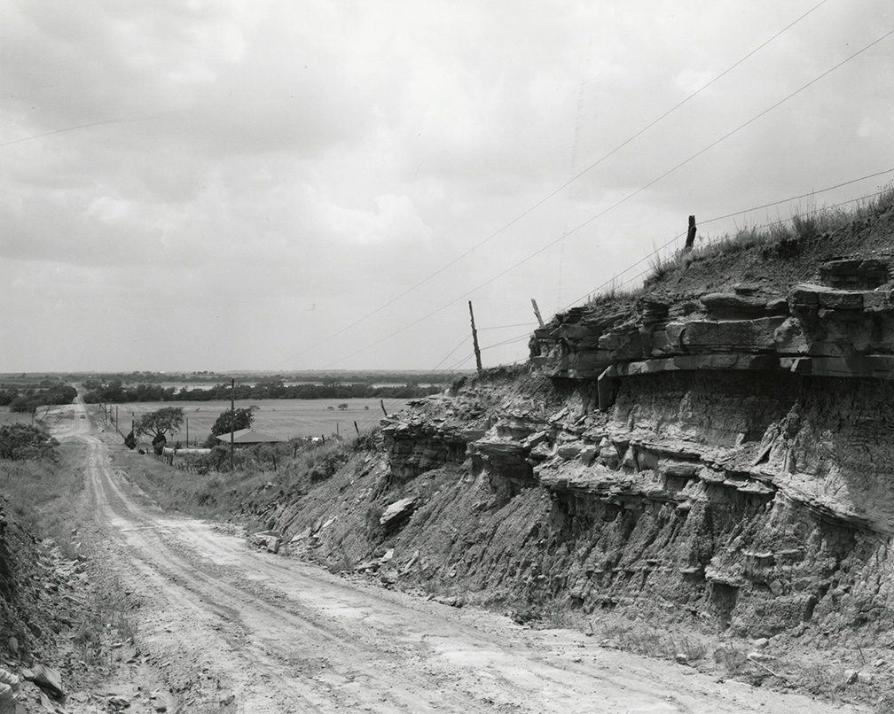 Texas Memories #5: Road Cut, sandstone strata – Looking North Across Red River Valley near Petrolia, Texas, 1984/1988